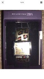 M&S leopard print watch bnib