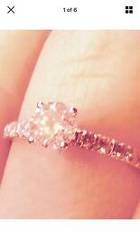 Platinum Diamond Solitaire Ring With Shoulder Diamonds