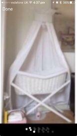 Silver Cross white wicker bassinet, drapes & stand