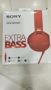 sony mdr xb550ap RED headphones