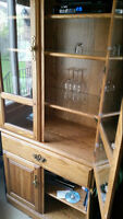 Three Piece Wood China Cabinet for sale