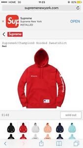 Supreme Champion Hooded Sweatshirt Style: Red Size: Medium Cambridge Kitchener Area image 1
