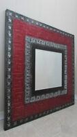 Vibrant Cranberry, black, & silver square mirror