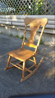 Antique Early 1900's Oak Press Back Rocking Chair Pressed Rocker