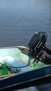 Lehr 5hp 4 stroke outboard with fiber tank.