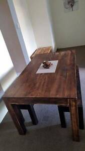 Dining Table & Two Benches Distressed Finish Solid Hardwood Coogee Eastern Suburbs Preview