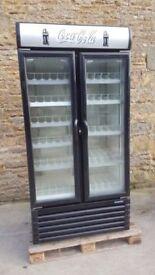 double door grey coke display fridge