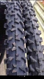 Pair mountain bike tyres tubes. size 26/1.90 like new. Must go.make GALON.