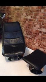 Black Cosmo Recliner Chair and Footstool
