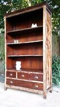 Solid Teak Bookcase Shelf Distressed Finish Large Rustic Look Coogee Eastern Suburbs Preview