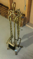 Vintage solid brass fireplace tool set