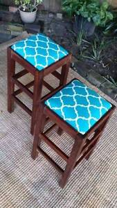 Pair Solid Hardwood Bar Breakfast Stools Chairs Seats Coogee Eastern Suburbs Preview