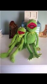 Kermit the frog plush toy and back pack, the muppets