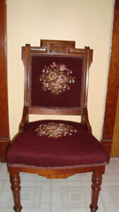 ANTIQUE NEEDLEPOINT PARLOUR CHAIRS