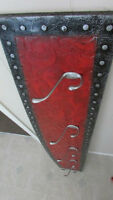 Large Vibrant, Elegant, Red, Black & Silver Coat Rack