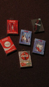 REDUCED _ Six  Coca-Cola Playing Card Decks - UNUSED