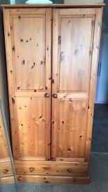 2 Door Pine Wardrobe with single draw