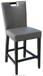 3 - Handle Back Leather Bar / Counter Stool in Grey or Brown