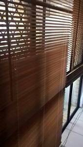Walnut 25mm Slat Timber Venetian Blinds 1050x2100mm + 1800x1400mm Deception Bay Caboolture Area Preview