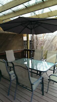 Outdoor Patio Furniture Table with 6 Chairs & Umbrella Set
