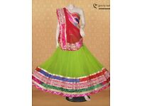 GREEN GEORGETTE CHANIYA CHOLI WITH GOTTA PATTI LACE