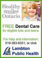 FREE dental care for eligible children without insurance
