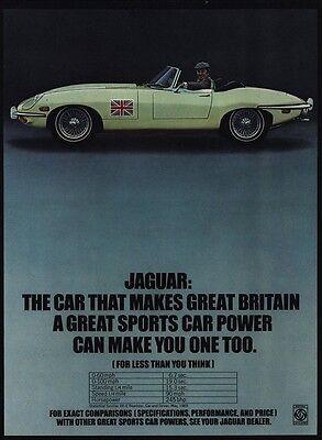 1970 JAGUAR XKE Convertible Sports Car - British Flag - VINTAGE AD