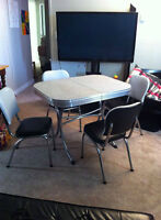 Retro chrome table and chair set