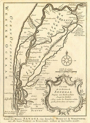 'Cours de la Rivière du Sénégal' Senegal River 1st sheet. BELLIN/SCHLEY 1747 map