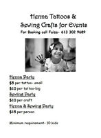 Henna Tattoos & Sewing Crafts for Events