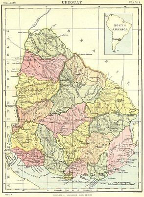 URUGUAY. Inset South America. Britannica 9th edition 1898 old antique map