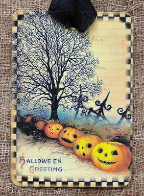 Hang Tags  SPOOKY HALLOWEEN GREETINGS PUMPKIN TAGS or MAGNET #349  Gift Tags - Spooky Halloween Greetings