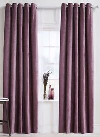BHS Deep Purple chenille eyelet blackout curtains 168x183