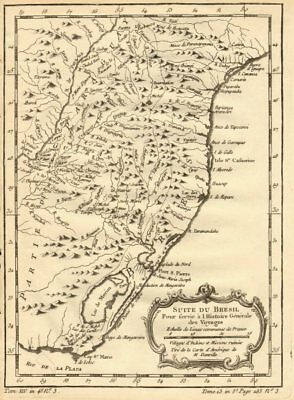'Suite du Bresil'. Southern Brazil & Uruguay. BELLIN 1758 old antique map