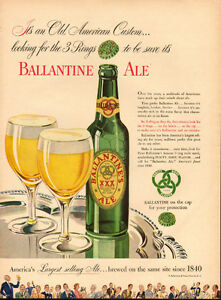 1947 large full page color ad for Ballantine Ale