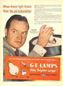 Large 1947 General Electric Light Bulb ad with Bob Hope