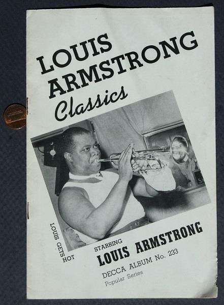 1941 Decca Classics Records Satchmo Louis Armstrong Jazz Album # 233 brochure!