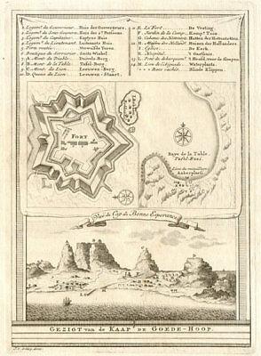 'Vûe du Cap de Bonne-Espérance'. Cape Town & Table Bay. BELLIN/SCHLEY 1747 map