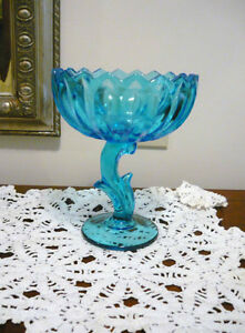 Indiana Glass Blue Lotus Blossom Compote