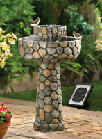 Faux Cobblestone Wishing Well Solar Fountain With Adapter New