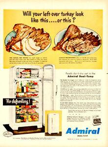 1950 original color print ad for Admiral refrigerators
