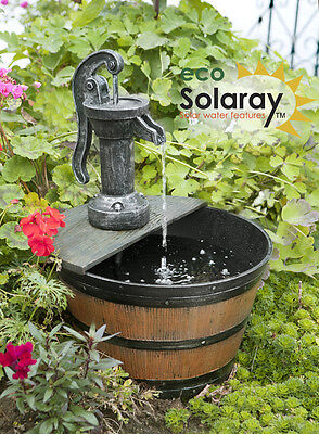 Hand Pump Barrel Water Feature Fountain Solar Powered Rustic Rural Effect Garden