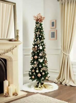 Árbol de Navidad Slim 2,10m Árbol Lápiz estrecho PVC Abeto decoración realista