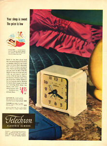1948 full-page magazine ad for Telechron Electric Clocks
