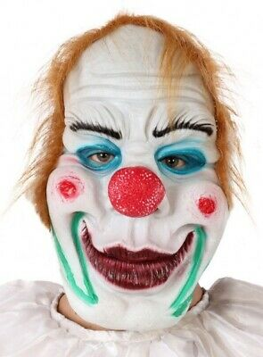 Old Man Outfit Halloween (Mens Ladies Old Horror Killer Clown Mask Halloween Fancy Dress Costume)