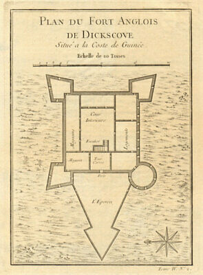 'Fort Anglois de Dickscove'. Dixcove/Metal Cross, Pokesu, Ghana. BELLIN 1747 map