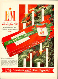 1954 full page Christmas color ad for L&M Cigrettes