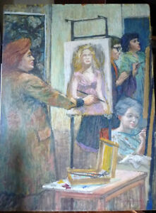 Original Oil by Geoffrey Traunter 'The Art Class' : Portraiture