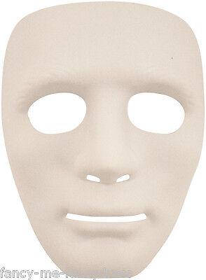 Deluxe Damen Herren Einfach Weiß Anonymous Halloween Kostüm Gesichtsmaske