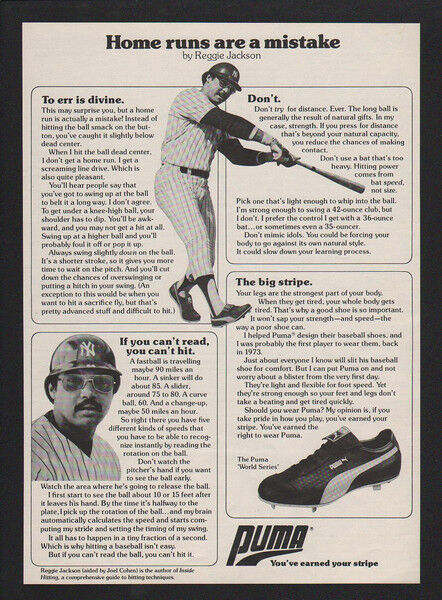1978 REGGIE JACKSON - NEW YORK YANKEES - PUMA World Series Cleets VINTAGE AD